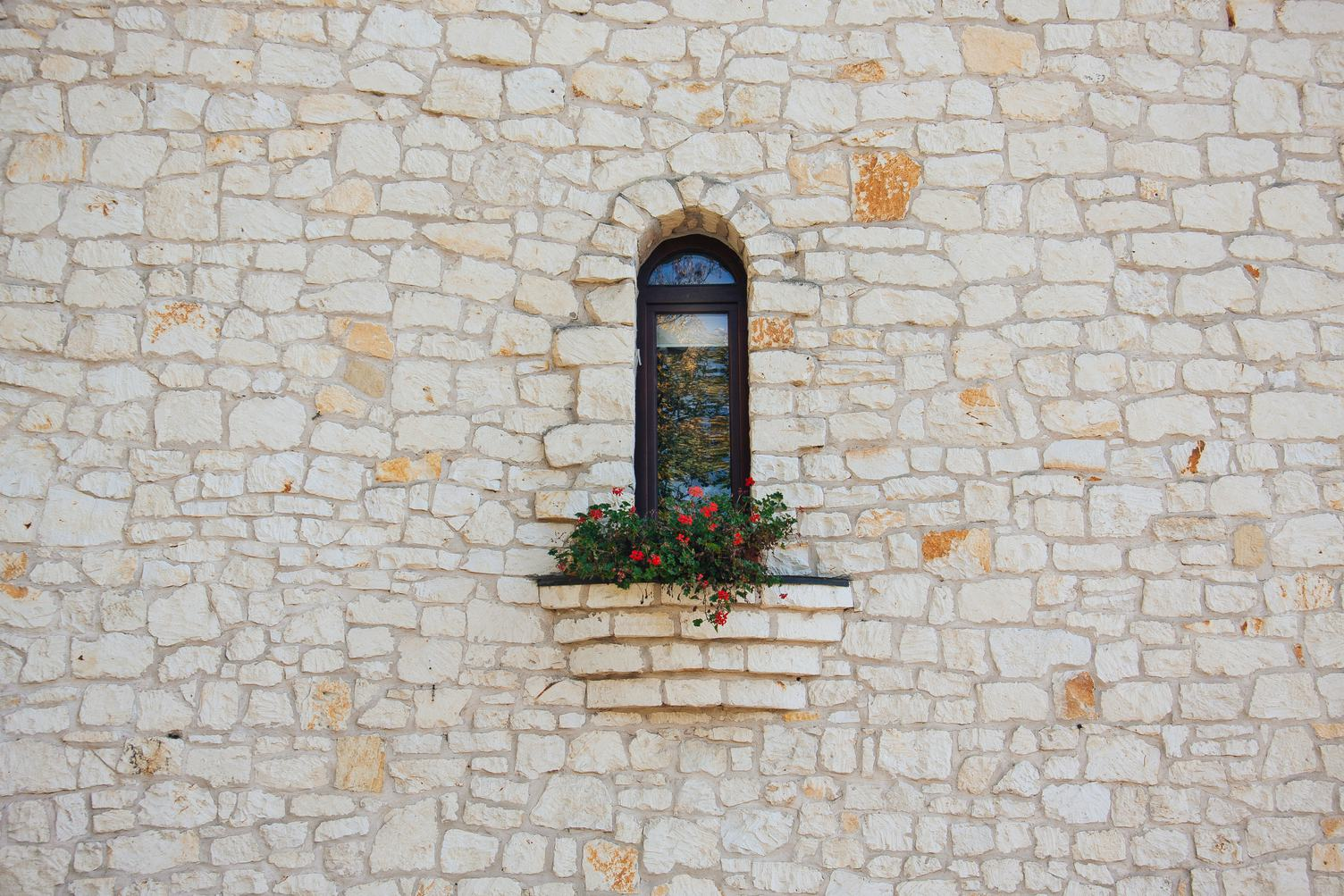 Stone Wall and Window with Red Geranium
