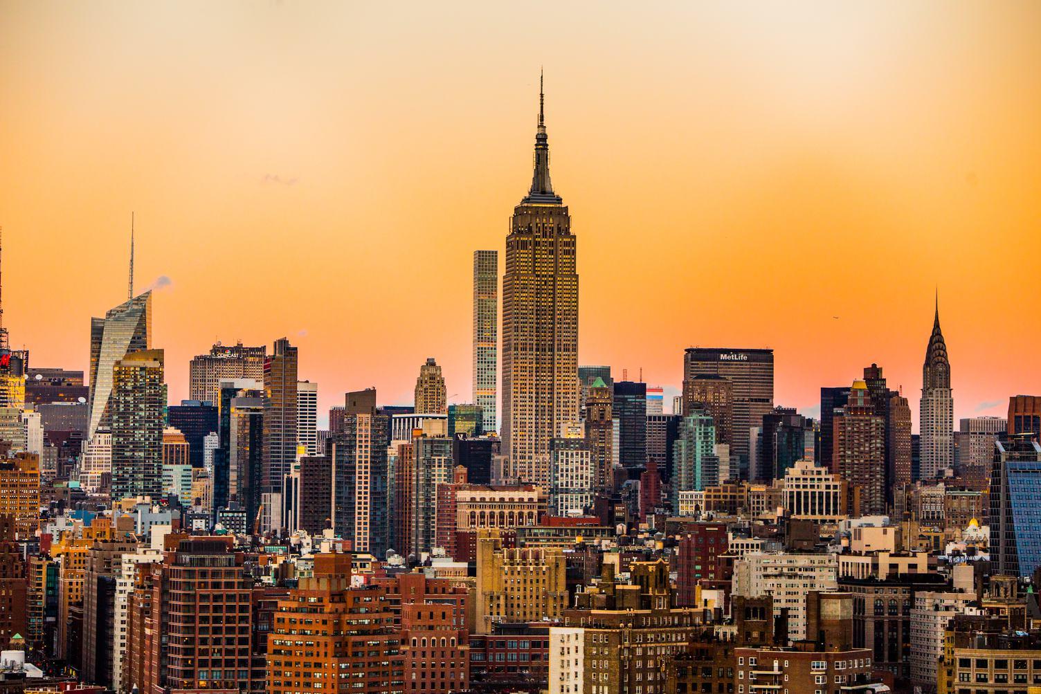 Manhattan, New York City Skyline at Sunset
