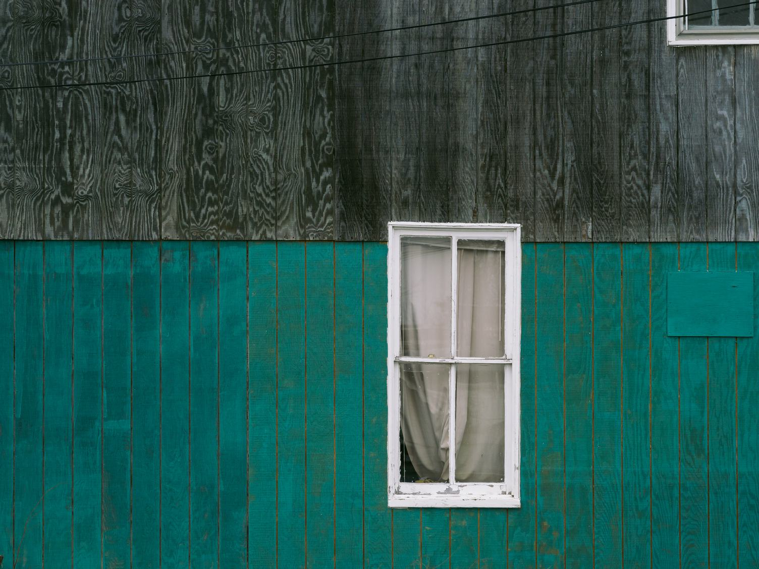 Gray and Turquoise Wooden Wall with Window
