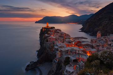 Vernazza Small Italian Town on the Rocks at Sunset, Liguria Europe