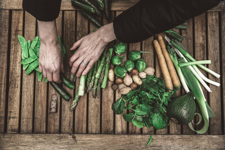 Green Vegetables on Wooden Table