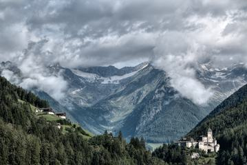 Awesome Clouds above Castle Taufers in Campo Tures, Valle Aurina, Italy