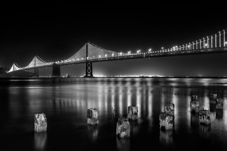 Black & White Image of Oakland Bay Bridge by Night, San Francisco, California