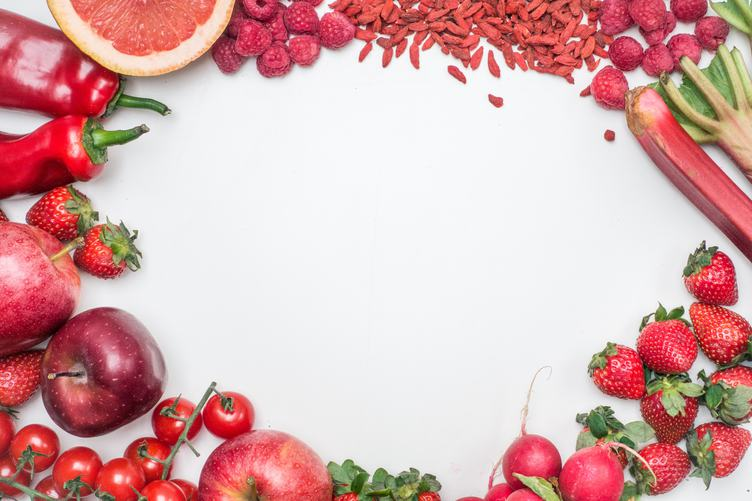 Flat Lay of Fresh Red Toned Vegetables and Fruits