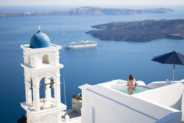 Blue and White Belfry of Imerovigli Village on Santorini Island, Greece
