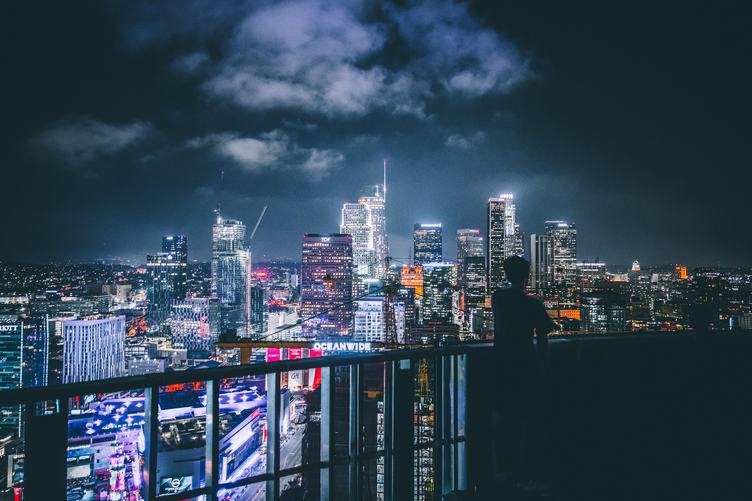 Los Angeles Night View from the Balcony