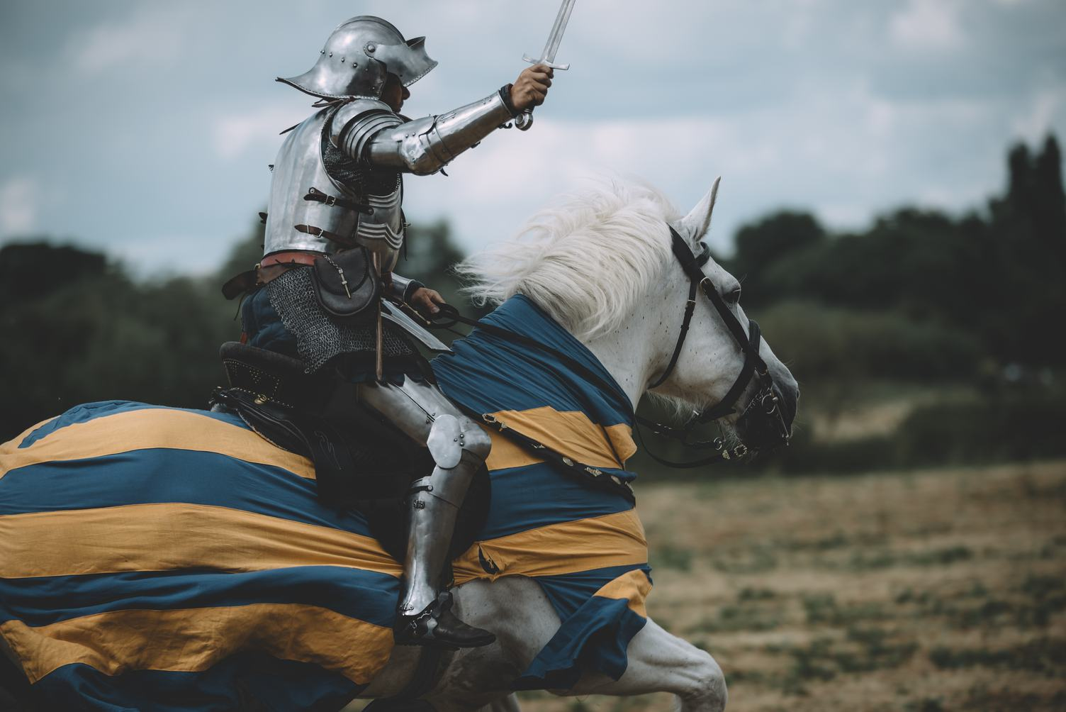 Knight Riding a Horse with Sword in His Hands