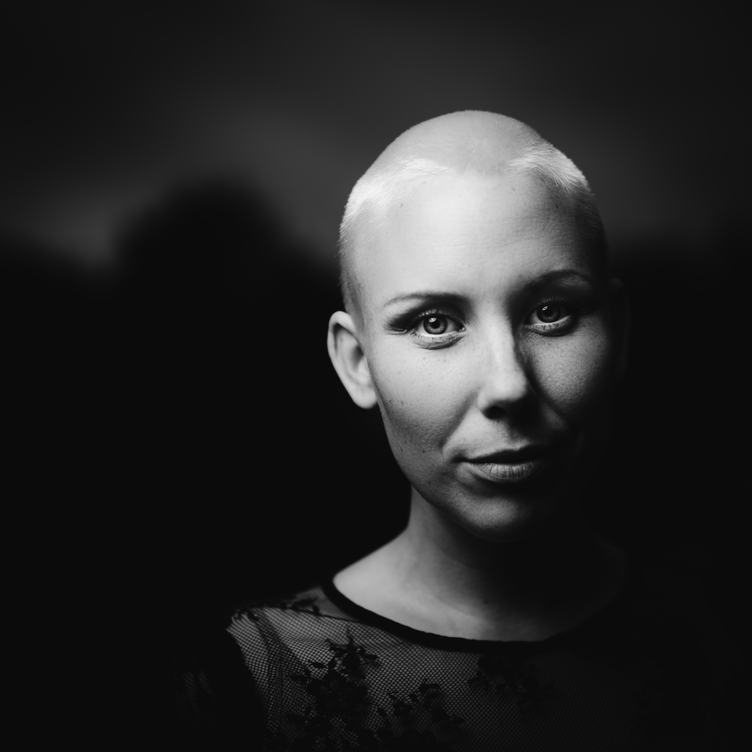 Black and White Portrait of Bald Woman
