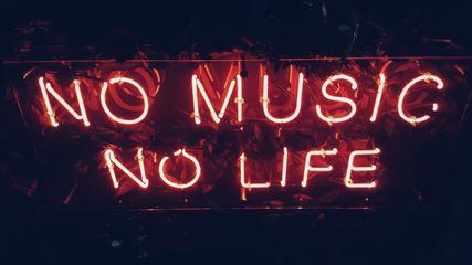 No Music No Life Red Neon