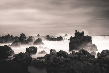 Long Exposure Picture of Rocky Volcanic Shore