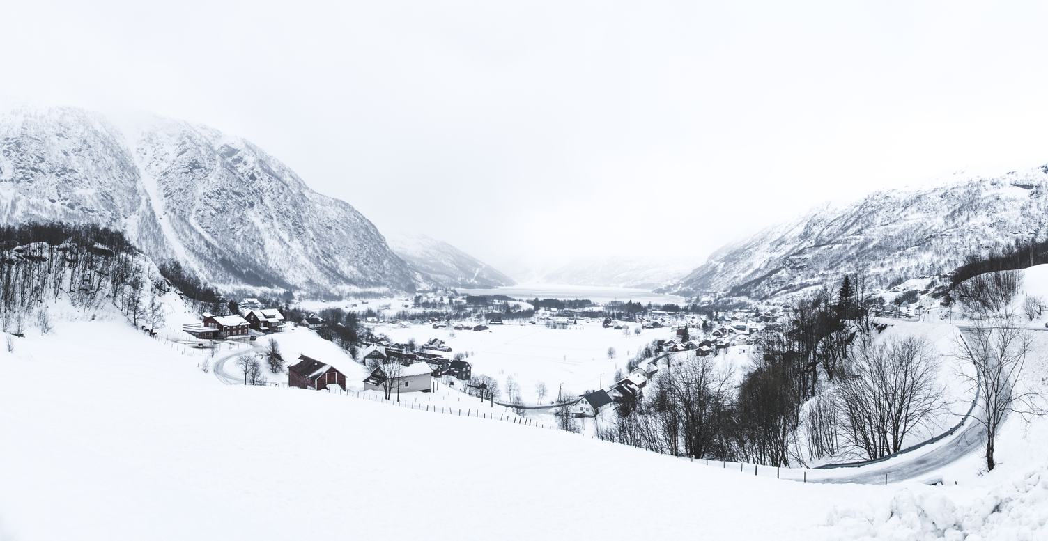 Winter Village in the Mountain Valley