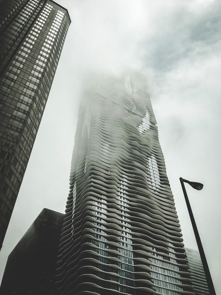 Skyscrapers at Early Foggy Morning in Chicago