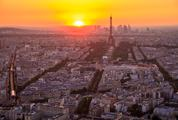 Aerial View of Paris at Sunset from Montparnasse Tower