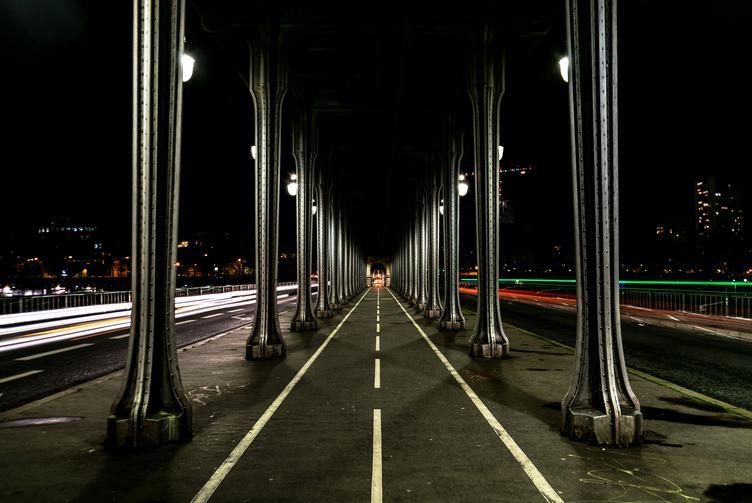 Bridge Bir-Hakeim at Night, Paris, France
