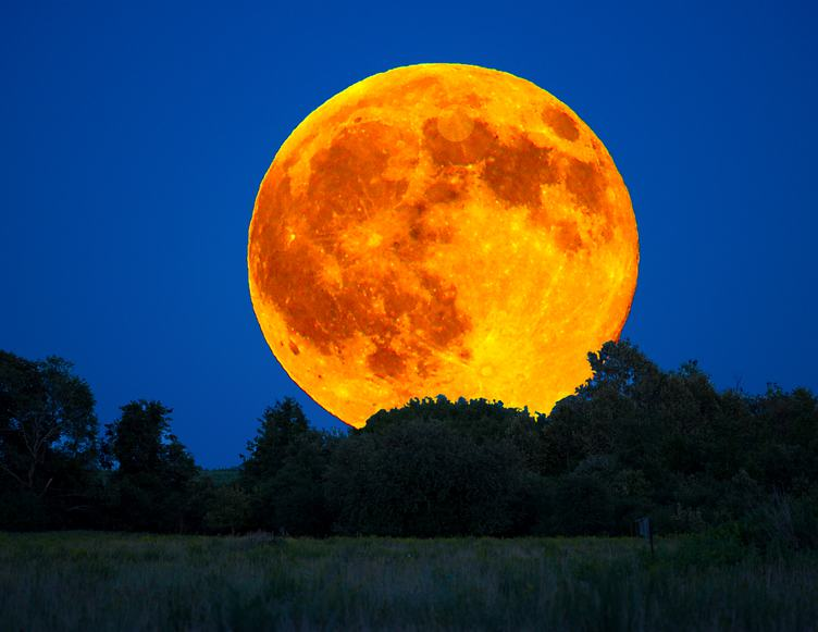 Closeup of Orange Moon