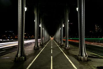 Bridge Bir-Hakeim at Night, Paris, France