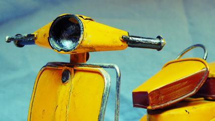 Yellow Retro Motorcycle Closeup