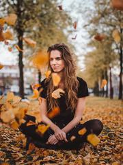 Autumn Portrait of Long Hair Women