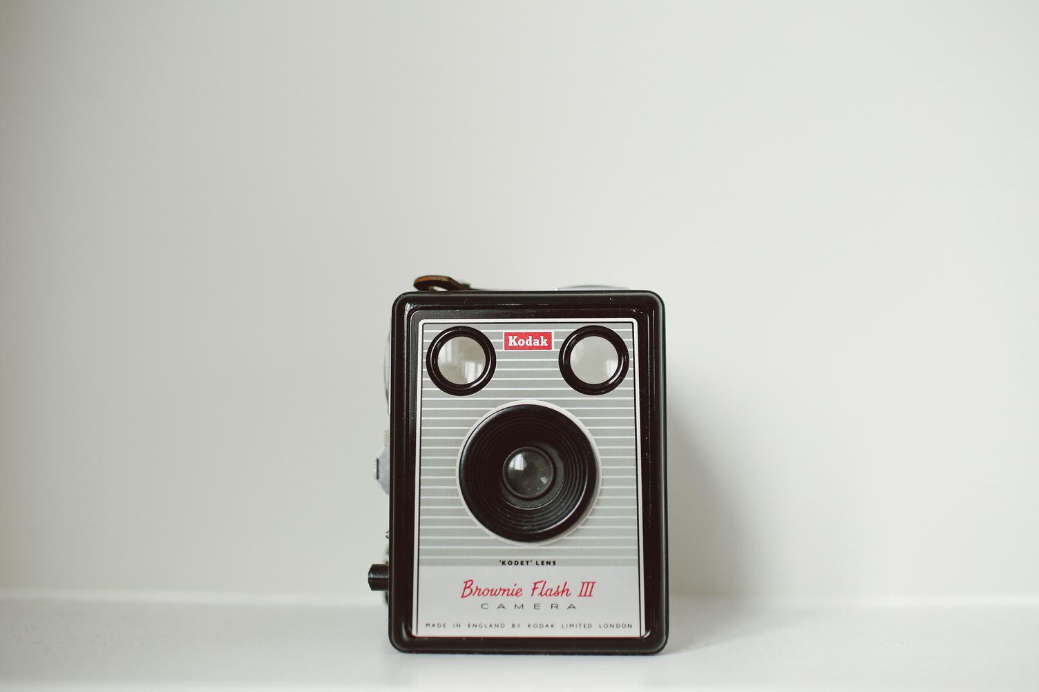 Brownie Flash III Kodak Camera on White Background