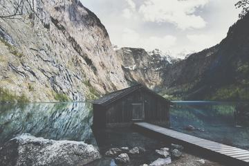 Wooden Boathouse Lake Obersee near Berchtesgaden in the German Alps
