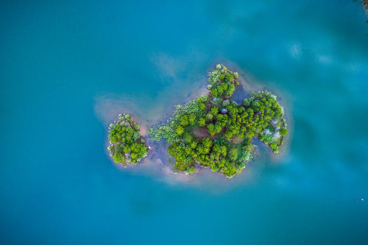 Top View of Small Island in the Ocean