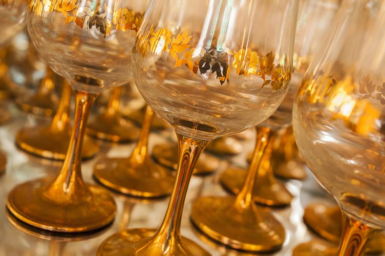 Golden Wine Glasses with Floral Ornaments