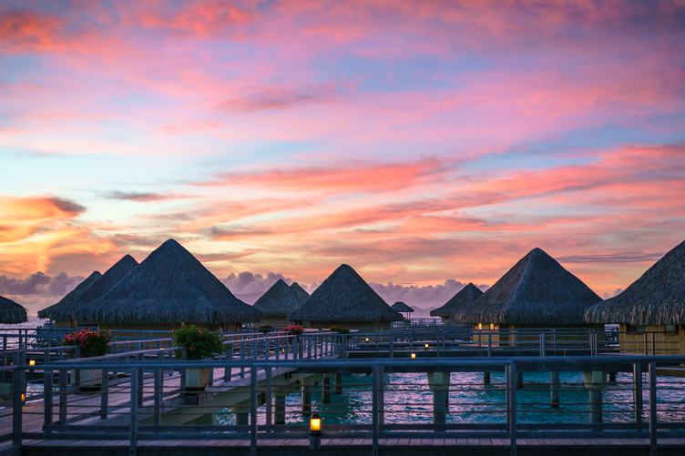 Pink Sunset Bora Bora Island, French Polynesia