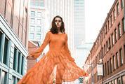 Woman in Orange Lace Dress, urban Portrait