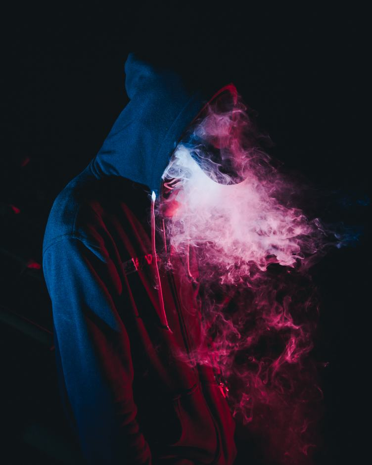 Pink Smoke in Darkness