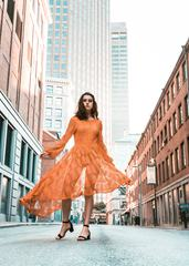 Woman in Orange Lace Dress, urban Portrait