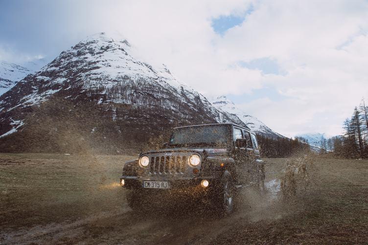 Off Road Expedition Jeep Splashing Mud