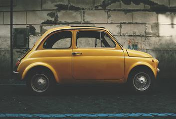 Small Yellow Vintage Car