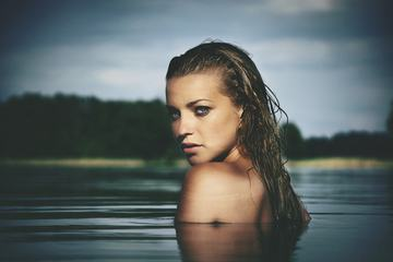 Nude Young Woman in the Water