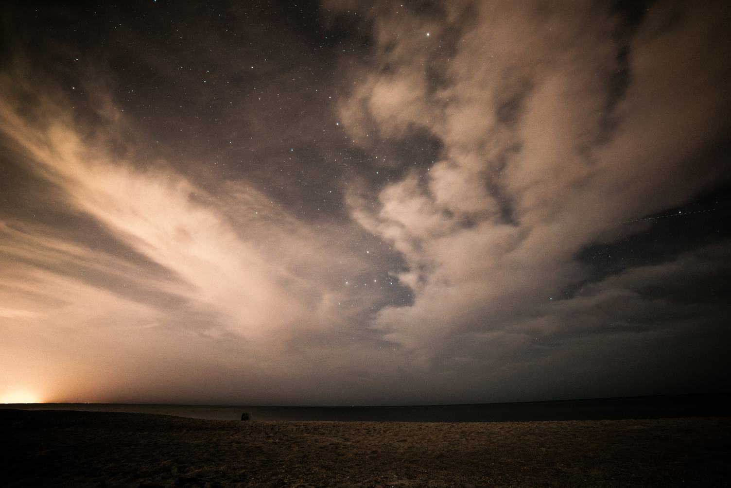 Starry Sky with Clouds on the Beach