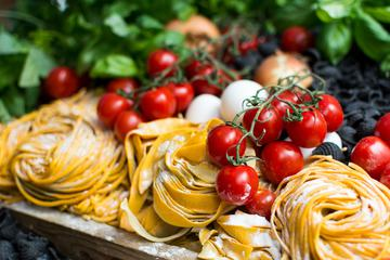 Italian Pasta with Tomatoes and Basil and Oil Ingredients