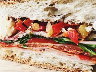 Italian Ciabatta Panini Sandwich Closeup