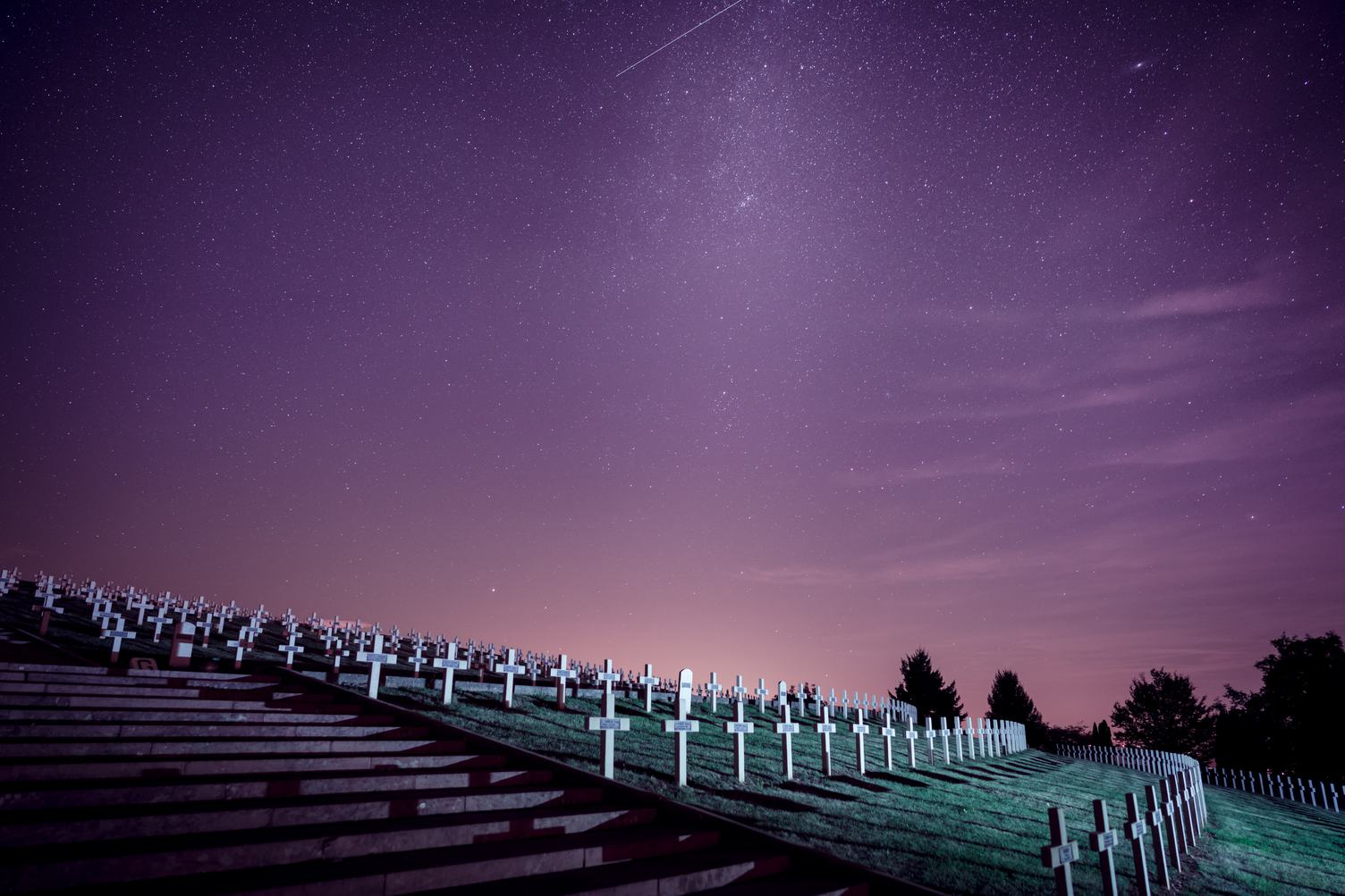 Military Cemetery by Night