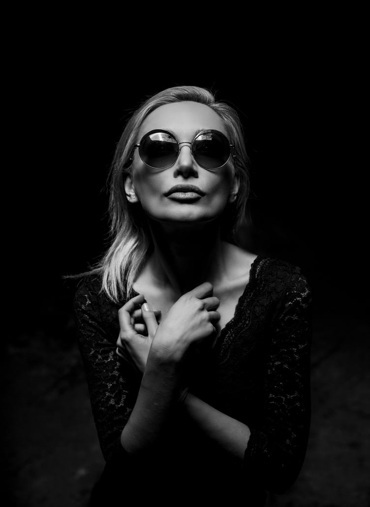 Black and White Woman Wearing Sunglasses Portrait