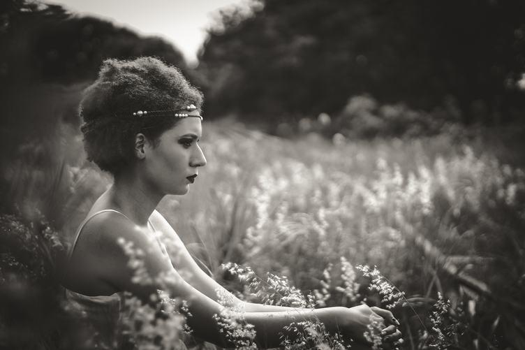 Black & White Portrait of Pensive Woman