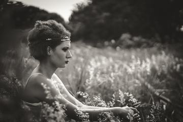 Black & White Portrait of Pensive Woman