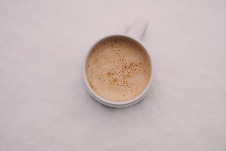 Top View of White Mug of Cappuccino
