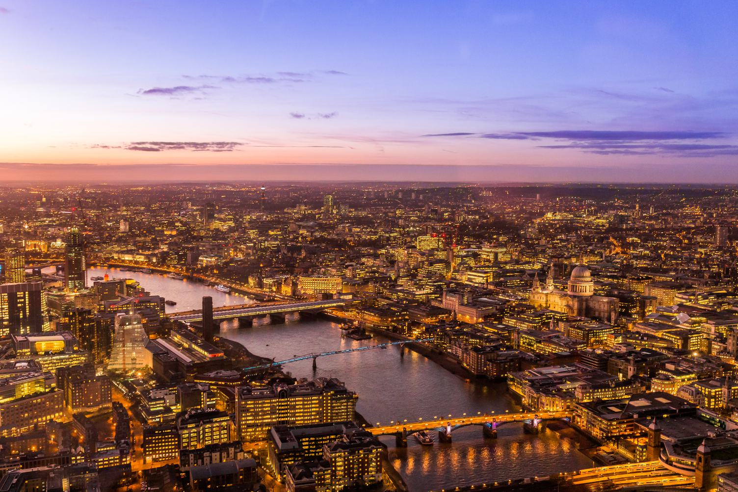 London by Night Aerial View