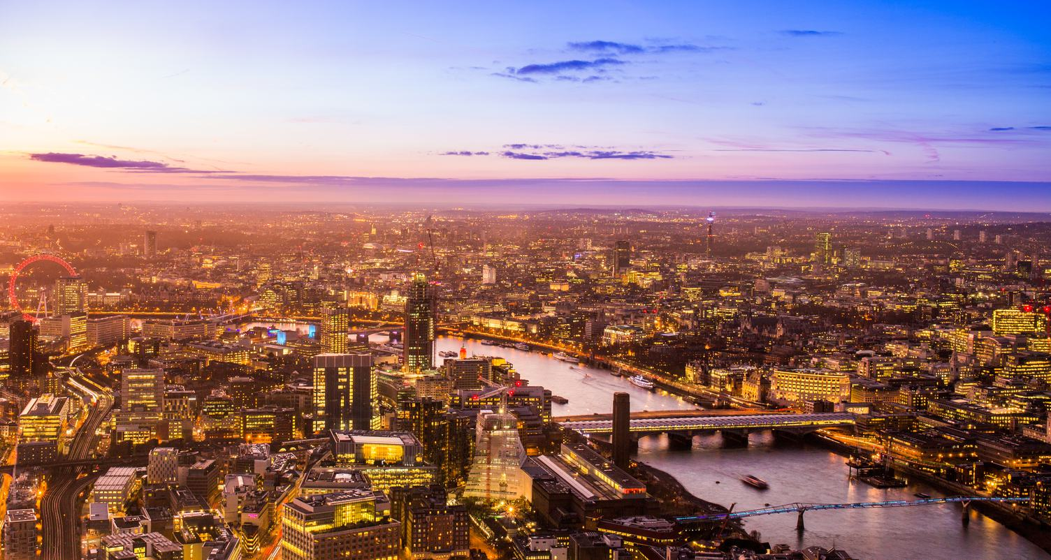 Aerial Cityscape View of London and the River Thames