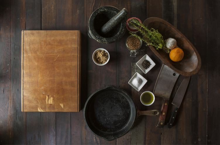 Cutting Board, Pan, Mortar and Spices - Cuisine Flatlay