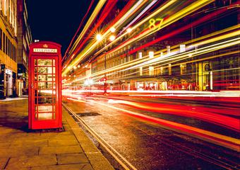 London City Street Red Abstract Lights and Phone Box