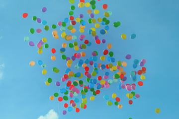 Multicolored Balloons Floating up into a Blue Sky