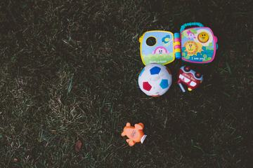 Toys on Grass Top View
