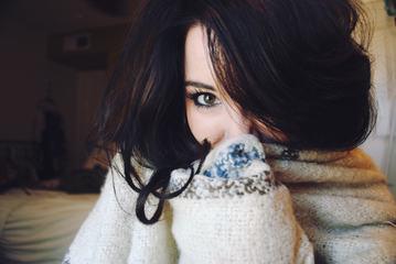 Closeup Face Portrait of Young Brunette Woman