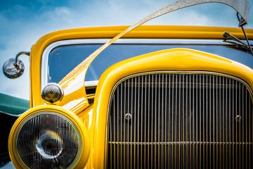 Yellow Custom Car Closeup