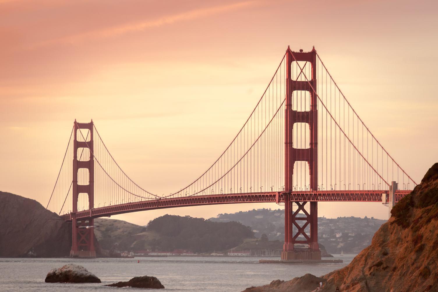 Famous Golden Gate Bridge at Sunset